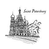saint petersburg rozlewający krwionośny kościelny wybawiciel Rosja Nakreślenie dla twój projekta royalty ilustracja