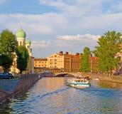 Saint-Petersburg. Russia. Boat sails via the Griboyedov channel. Saint Petersburg. Russia Royalty Free Stock Images