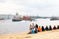 Saint-Petersburg. Russia. International Festival- Parade of historic ships. One of the events within the framework of the Saint-Petersburg's birthday. Russia Royalty Free Stock Image