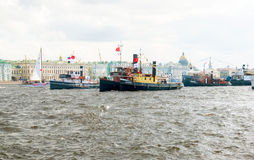 Saint-Petersburg. Russia. International Festival- Parade of historic ships. One of the events within the framework of the Saint-Petersburg's birthday. Russia Stock Photos