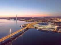 Saint-Petersburg, Russia. Aerial views to Gulf Finland. Skyscraper Lakhta center Gazprom headquarters. Stadium Zenith royalty free stock photos
