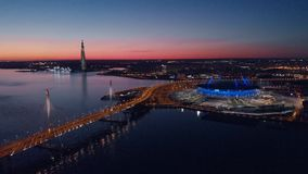 Saint-Petersburg, Russia. Aerial views to Gazprom Arena stadium as known as Zenit Arena and Krestovsky stadium prepared stock video footage