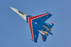 SAINT-PETERSBURG, RUSSIA Aerobatic team `Russian knights` aircraft SU-30. Aerobatic team Russian knights aircraft SU-30 Royalty Free Stock Photo