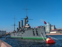 Saint Petersburg, Russia-April 28, 2018: The Cruiser Aurora. The ship is moored at Petrogradskaya embankment and is a stock photo