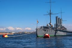 Saint Petersburg, Russia-April 28, 2018: The Cruiser Aurora. View from the stern of the ship. The ship is moored at stock photos