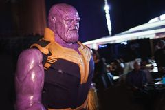 SAINT PETERSBURG, RUSSIA - APRIL 27, 2019: Festival of games and comics, Titan Thanos cosplay stock photography
