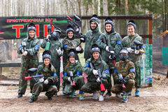 Saint-Petersburg, Russia - April 24, 2016: Paintball tournament in Snaker club between student teams from five universities. Stock Photo