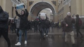 SAINT-PETERSBURG, RUSSIA, APRIL 26, 2017. Russian anti corruption protest.