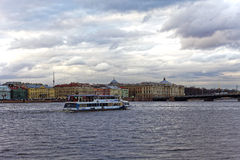 SAINT-PETERSBURG, RUSSIA - 30 APRIL2017: Tourist river boat on the Neva River in St Petersburg. royalty free stock photos