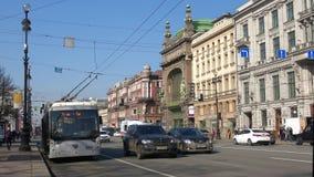 Trolleybus route № 7 at the public transport stop on Nevsky prospect. Saint Petersburg. SAINT PETERSBURG, RUSSIA - APRIL 09, 2018: Trolleybus route  7 at the stock video