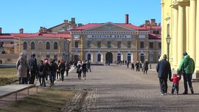 View of the Monetary yard, April day. Peter and Paul fortress, Saint Petersburg. SAINT PETERSBURG, RUSSIA - APRIL 07, 2018: View of the Monetary yard on a Sunny stock video footage