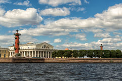 Saint Petersburg, Russia, Arrow Vasilevsky Island, Rostral Columns, old Exchange building. View from the Neva River. Stock Image