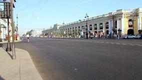 SAINT PETERSBURG, RUSSIA - AUG 2013: Biker At Nevsky Avenue stock video