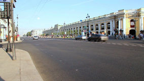 SAINT-PETERSBURG, RUSSIA - AUG 2013: Traffic At Nevsky Avenue - is the main street in the city stock footage