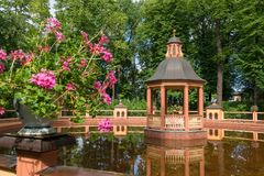 Landscape architecture. SAINT PETERSBURG, RUSSIA - AUGUST 18, 2017: Bosket `Menagerie pond` 1720, according to the drawings of Jan Roosen; restored in 2011 in Stock Photography