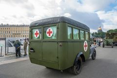 The car red cross in the Palace square in St. Petersburg on 11 A royalty free stock photos
