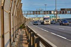 Cars and truck on bypass road, St. Petersburg, Russia stock image