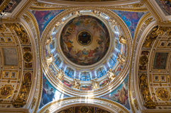 Interior of the St Isaacs Cathedral, Saint Petersburg, Russia - ceiling ornated with Bible paintings Royalty Free Stock Photos