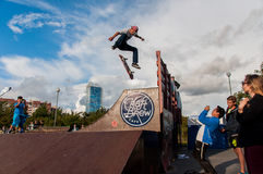 SAINT-PETERSBURG, RUSSIA AUGUST 29 2015: EXTREME FESTIVAL IN THE 300 YEAR PARK, SKATEBOARD RIDERS Royalty Free Stock Images
