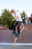 SAINT-PETERSBURG, RUSSIA AUGUST 29 2015: EXTREME FESTIVAL IN THE 300 YEAR PARK, SKATEBOARD RIDERS Royalty Free Stock Photography