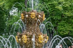 Detail of the fountain. SAINT PETERSBURG, RUSSIA - AUGUST 18, 2017:  Fountain Crown in the Summer garden. This park is one of the oldest in Saint Petersburg, it Stock Photography