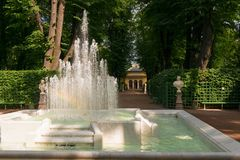 Fountain in the park. SAINT PETERSBURG, RUSSIA - AUGUST 18, 2017:  Fountain Pyramid in the Summer garden. This park is one of the oldest in Saint Petersburg, it Royalty Free Stock Images