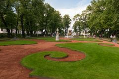 Grand Parterre in the Summer garden. SAINT PETERSBURG, RUSSIA - AUGUST 18, 2017: Grand Parterre in the Summer garden. This park is one of the oldest in Saint Stock Images