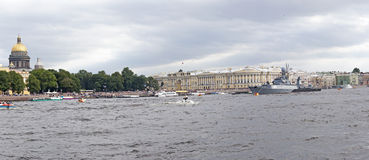 SAINT-PETERSBURG, RUSSIA - 26 AUGUST, 2015: Military ships of Russian Navy are moored on Neva river. Stock Photo