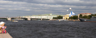 SAINT-PETERSBURG, RUSSIA - 26 AUGUST, 2015: Military ships of Russian Navy are moored on Neva river. Stock Images