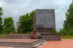 To the Heroes of the Siege of Leningrad. SAINT PETERSBURG, RUSSIA - AUGUST 21, 2017: the Monument `Boundary stone`. The Nevsky Pyatachok Memorial Stock Images