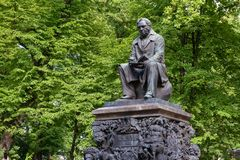 Ivan Krylov. SAINT PETERSBURG, RUSSIA - AUGUST 18, 2017: The monument to the fabulist Ivan Krylov. Summer garden. It was established in 1855 near the main Avenue Royalty Free Stock Image