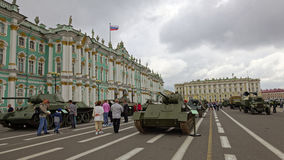 SAINT-PETERSBURG, RUSSIA - 11 AUGUST 2017: Original soviet military equipment and tanks on Palace Square, St. Petersburg, Russia. Royalty Free Stock Photo