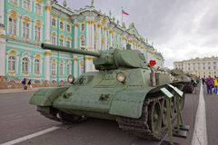 SAINT-PETERSBURG, RUSSIA - 11 AUGUST 2017: Original soviet military equipment and tanks on Palace Square, St. Petersburg, Russia. Stock Image