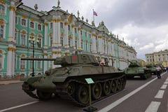 SAINT-PETERSBURG, RUSSIA - 11 AUGUST 2017: Original soviet military equipment and tanks on Palace Square, St. Petersburg, Russia. Stock Photos