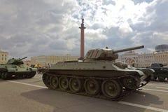 SAINT-PETERSBURG, RUSSIA - 11 AUGUST 2017: Original soviet military equipment and tanks on Palace Square, St. Petersburg, Russia. Stock Photo
