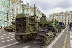SAINT-PETERSBURG, RUSSIA - 11 AUGUST 2017: Original soviet military equipment and tanks on Palace Square, St. Petersburg, Russia. Stock Images