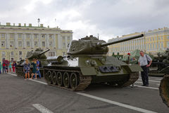 SAINT-PETERSBURG, RUSSIA - 11 AUGUST 2017: Original soviet military equipment and tanks on Palace Square, St. Petersburg, Russia. Royalty Free Stock Images