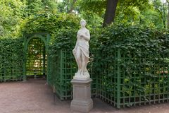 Sculpture of the Summer garden. SAINT PETERSBURG, RUSSIA - AUGUST 18, 2017: the Sculpture of the Summer garden. The park is one of the oldest in Saint Petersburg Stock Photography