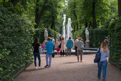 Summer garden. SAINT PETERSBURG, RUSSIA - AUGUST 18, 2017: Summer garden. This park is one of the oldest in Saint Petersburg, it was designed by Czar Peter in Royalty Free Stock Images