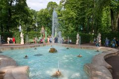 Summer day in the park. SAINT PETERSBURG, RUSSIA - AUGUST 18, 2017: Summer garden. This park is one of the oldest in Saint Petersburg, it was designed by Czar Royalty Free Stock Image
