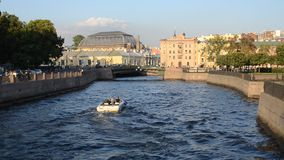 Saint-Petersburg. Russia. Boat on The Moika River stock video footage