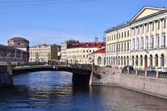 Saint Petersburg, Russia Canal View. Canal view in Saint Petersburg, Russia with tour boat stock photo