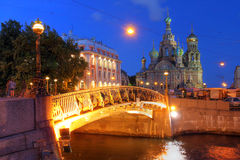 Saint Petersburg, Russia. Church on Spilled Blood (or Resurrection Church of Our Saviour) in Saint Petersburg, Russia on Griboedova Canal at twilight during the Stock Photo