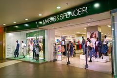 Marks & Spencer. SAINT PETERSBURG, RUSSIA - CIRCA AUGUST, 2017: Marks & Spencer store at Galeria shopping center. Galeria is major shopping and entertainment Royalty Free Stock Image