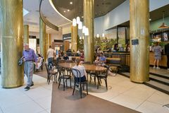 Starbucks. SAINT PETERSBURG, RUSSIA - CIRCA AUGUST, 2017: Starbucks coffee shop at Galeria shopping center. Starbucks Corporation is an American coffee company Stock Images