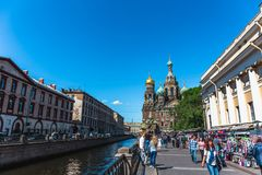 Saint Petersburg, Russia - Circa June 2017: Famous church of the Savior on Spilled Blood Stock Images