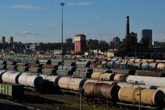 View of `Sortirovochnaya` railway station. Saint-Petersburg, Russia - Circa June, 2017. View of `Sortirovochnaya` railway station Royalty Free Stock Photos