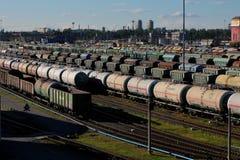 View of `Sortirovochnaya` railway station. Saint-Petersburg, Russia - Circa June, 2017. View of `Sortirovochnaya` railway station Royalty Free Stock Image