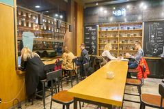 Starbucks. SAINT PETERSBURG, RUSSIA - CIRCA OCTOBER, 2017: inside a Starbucks coffee shop in Saint Petersburg. Starbucks Corporation is an American coffee Stock Images