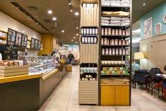 Starbucks. SAINT PETERSBURG, RUSSIA - CIRCA OCTOBER, 2017: inside a Starbucks coffee shop in Saint Petersburg. Starbucks Corporation is an American coffee Royalty Free Stock Image
